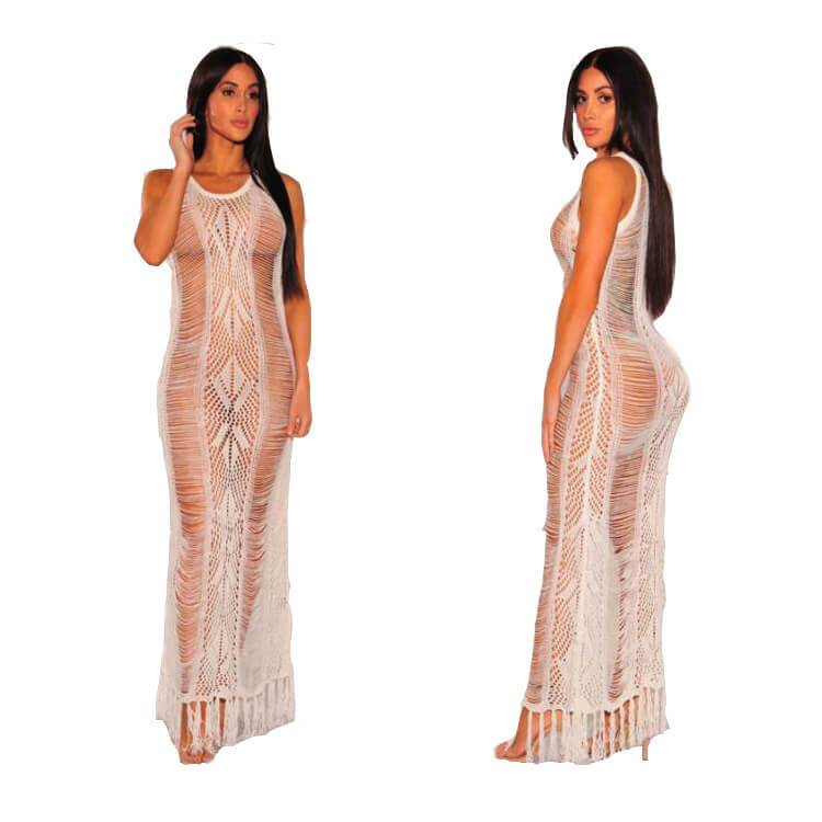 Smocked Maxi Dress- White color