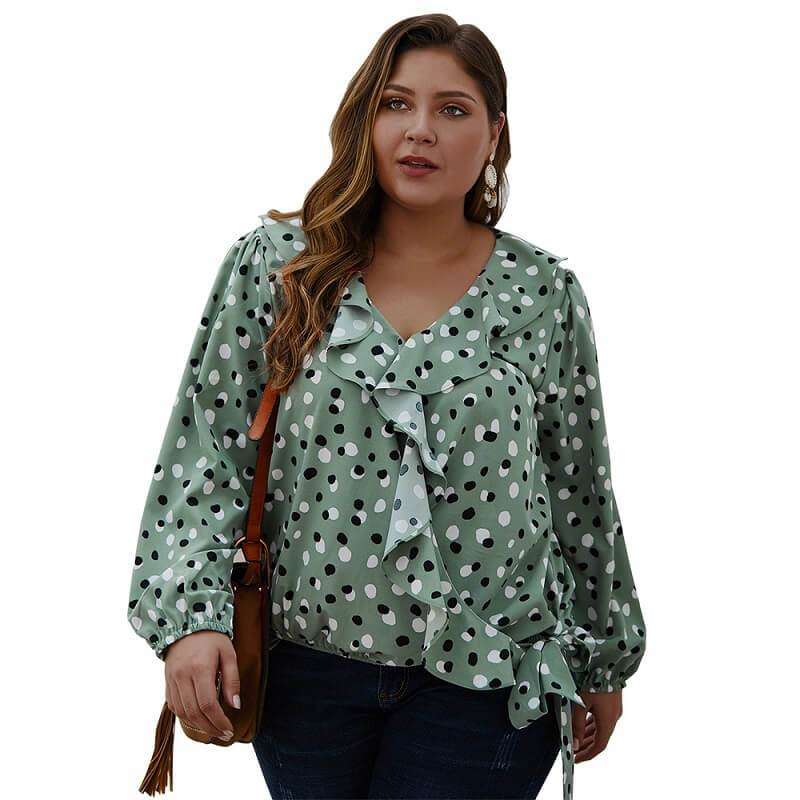Bow Tie Blouse Plus Size - army green color