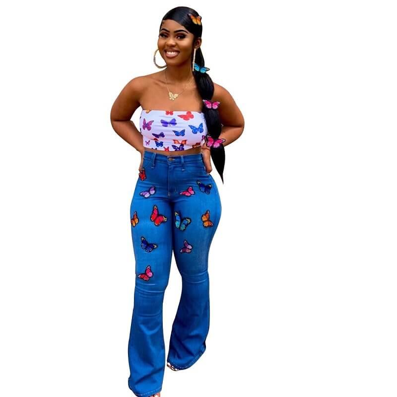 Skinny Plus Size Jeans - blue color