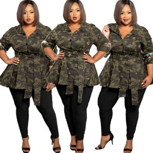 Plus Size Trench Coat Dress - main picture