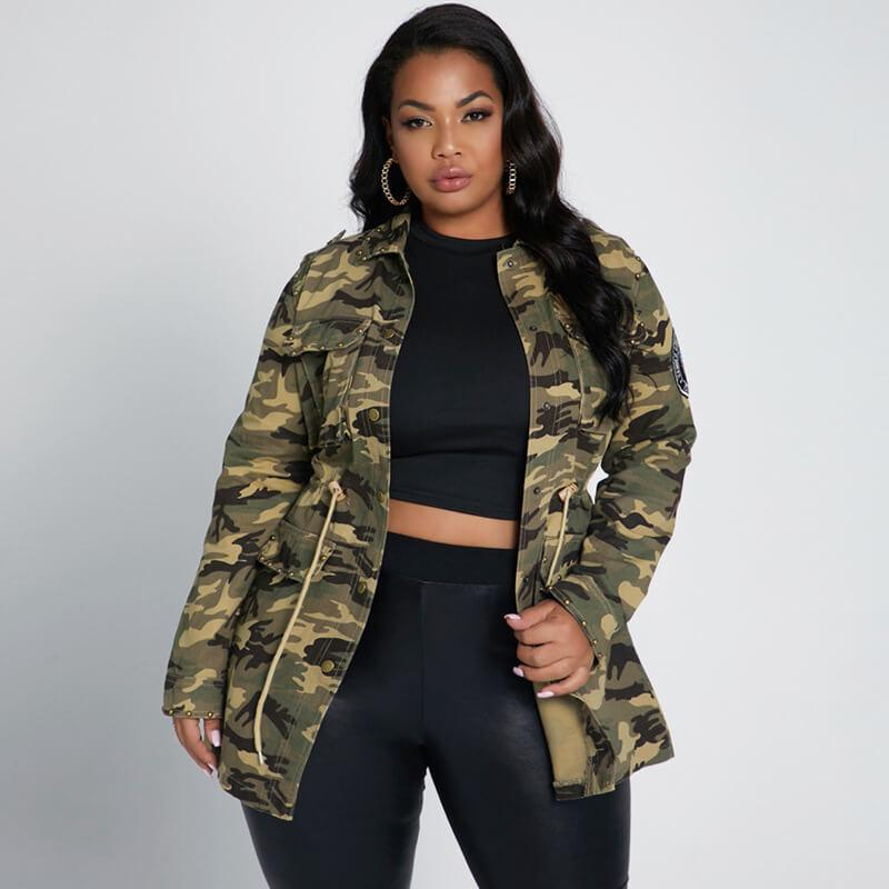 plus size longline coat - camouflage positive