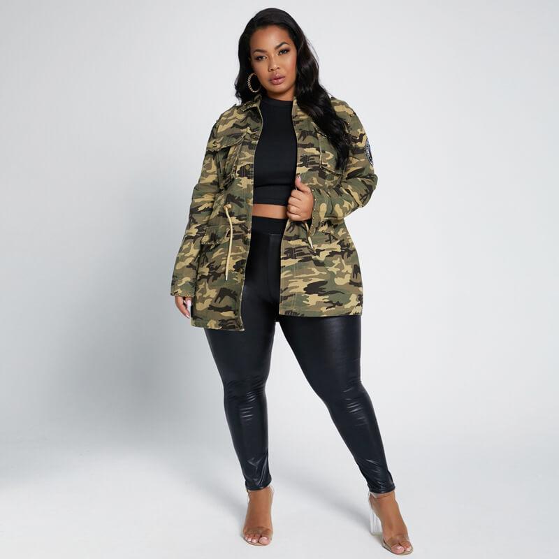 plus size longline coat - camouflage color