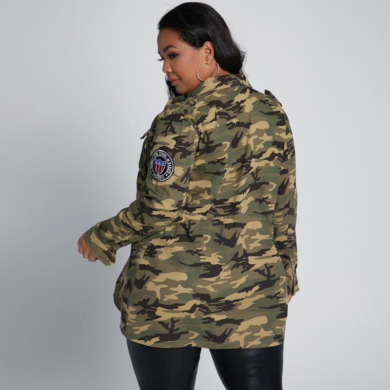 plus size longline coat - camouflage back