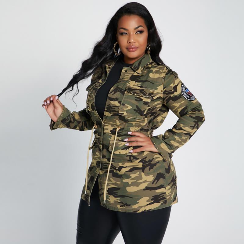 plus size longline coat - camouflage side