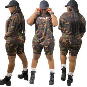 Plus Size Camouflage Fashion Set - main picture