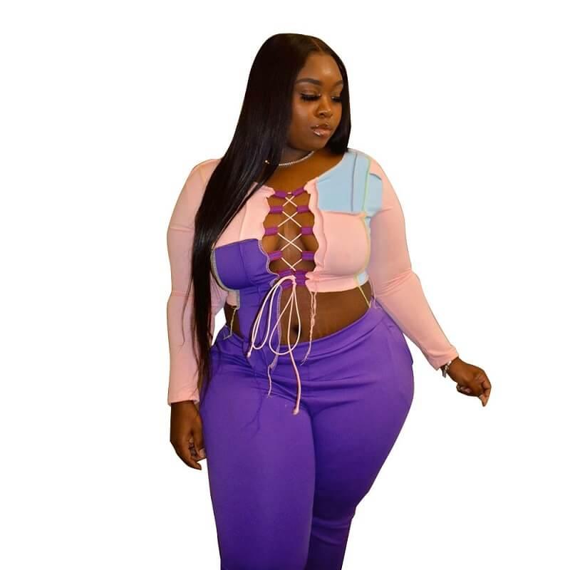 Strap Plus Size 2 Piece Sets - pink purple main picture