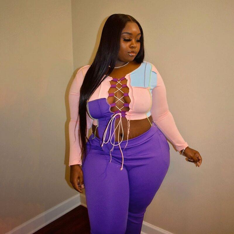 Strap Plus Size 2 Piece Sets - pink purple color
