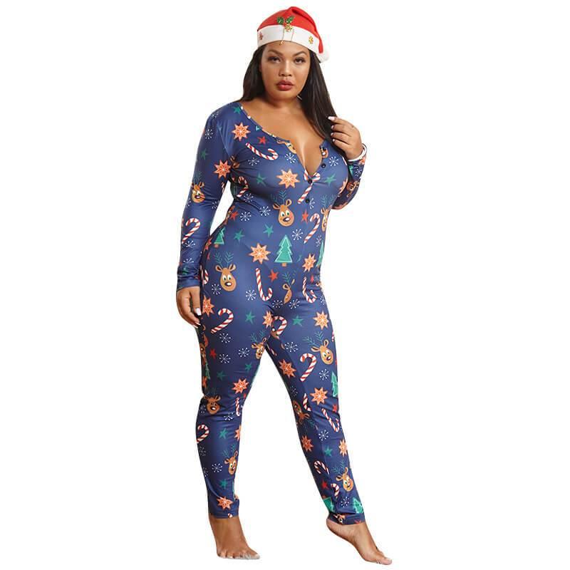 Womens Plus Jumpsuit - blue whole body