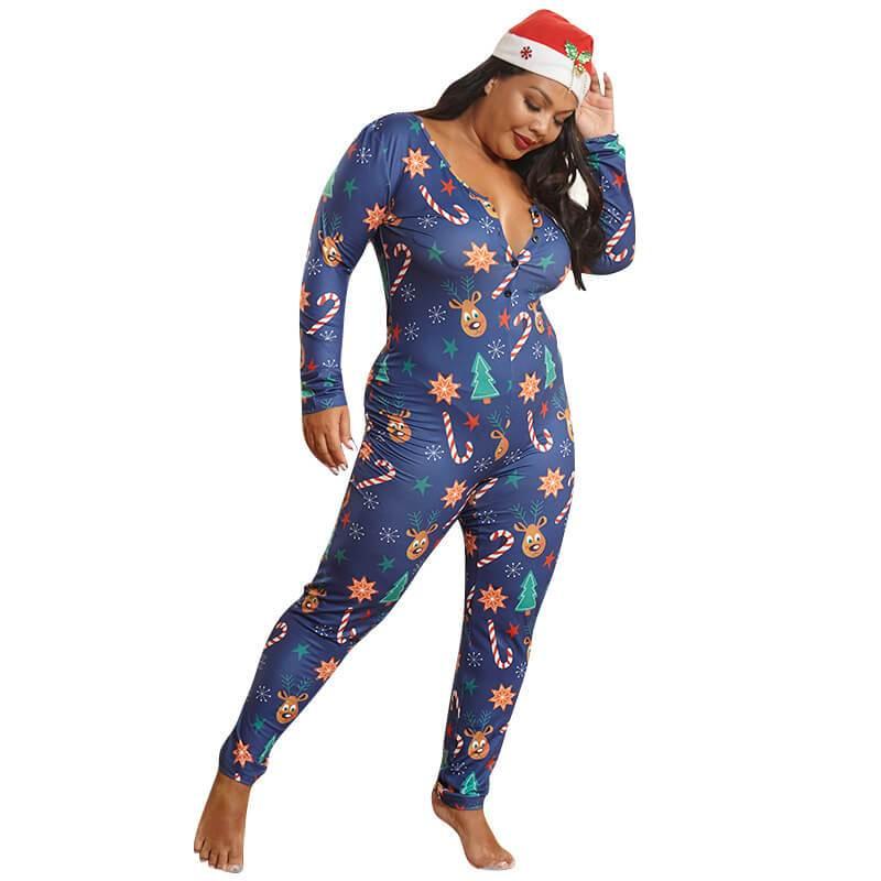 Womens Plus Jumpsuit - blue color