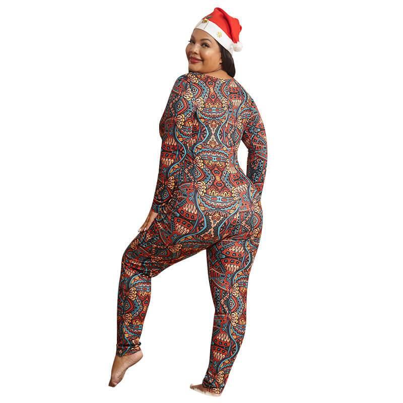 Plus Size Boho Jumpsuit - colorful back