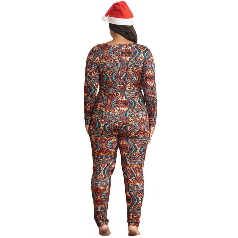 Plus Size Boho Jumpsuit - colorful behind