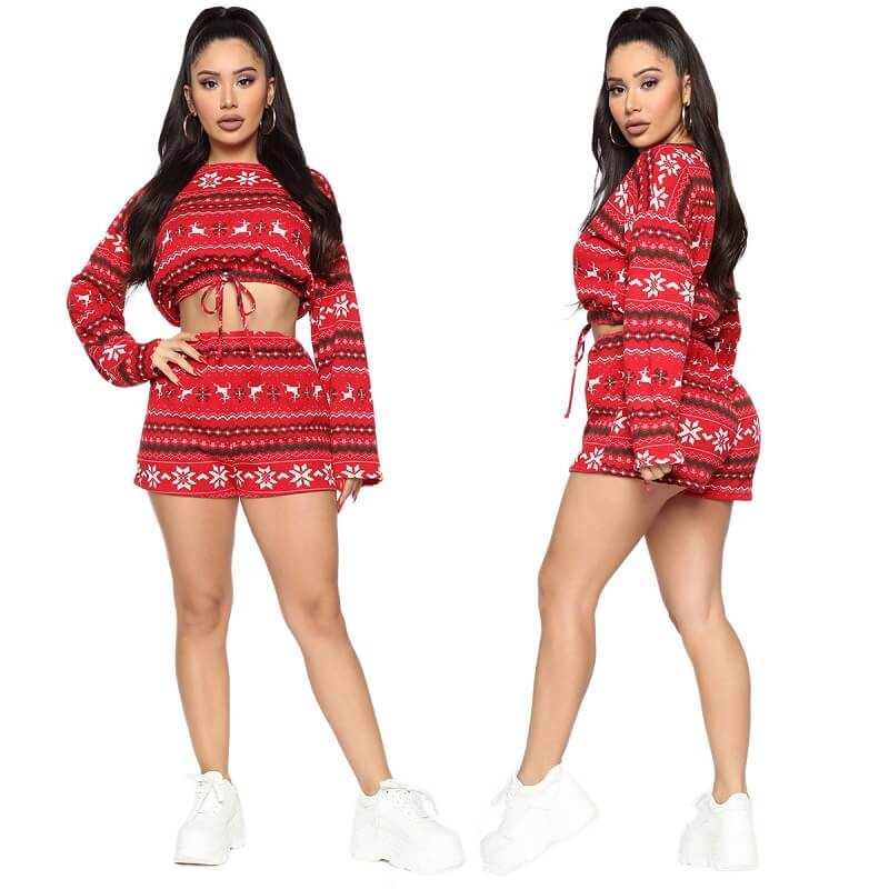 Two Piece Shorts and Top - red color