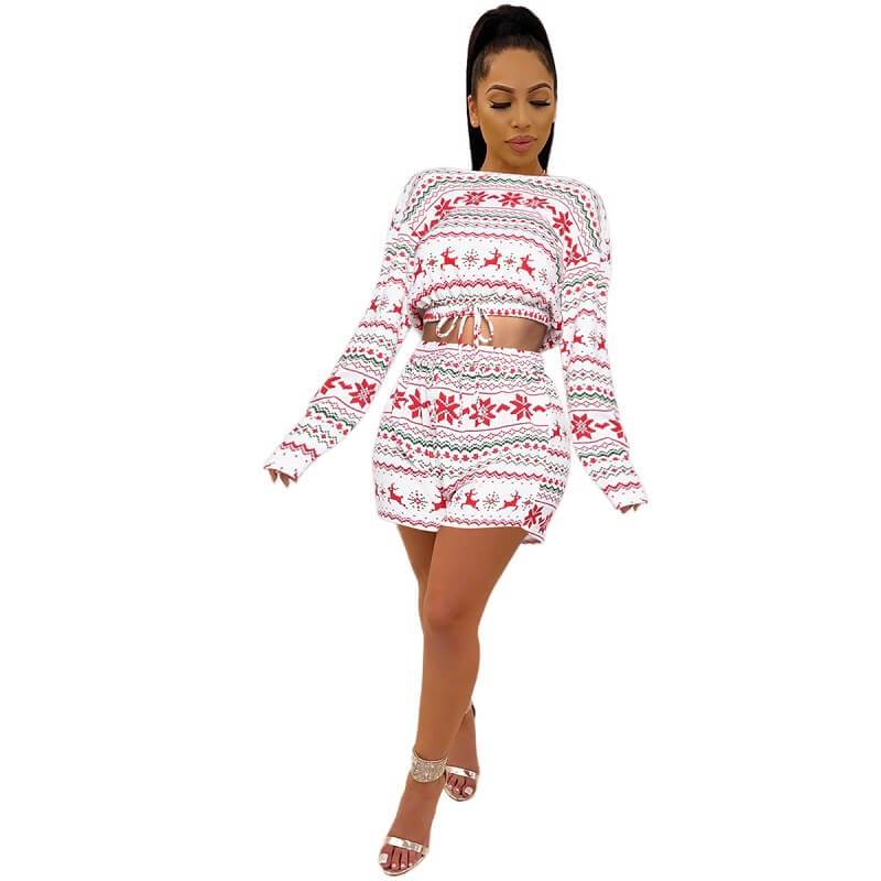 Two Piece Shorts and Top - White color front view