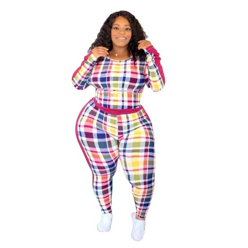 Plus Size Crewneck Tight Plaid Print Suit - colorful whole body