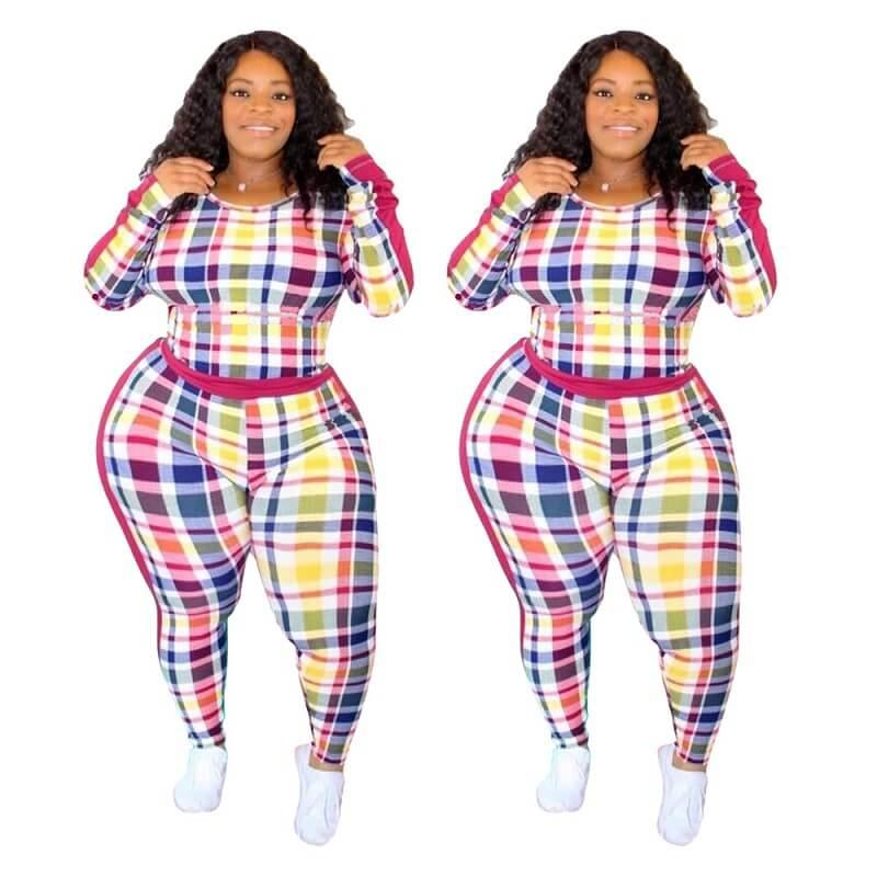 Plus Size Crewneck Tight Plaid Print Suit - colorful positive