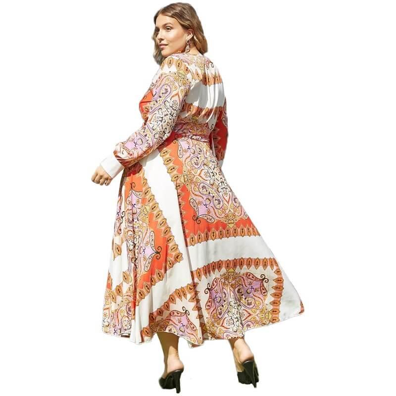 Women's Plus Size Dresses To Wear - orange side