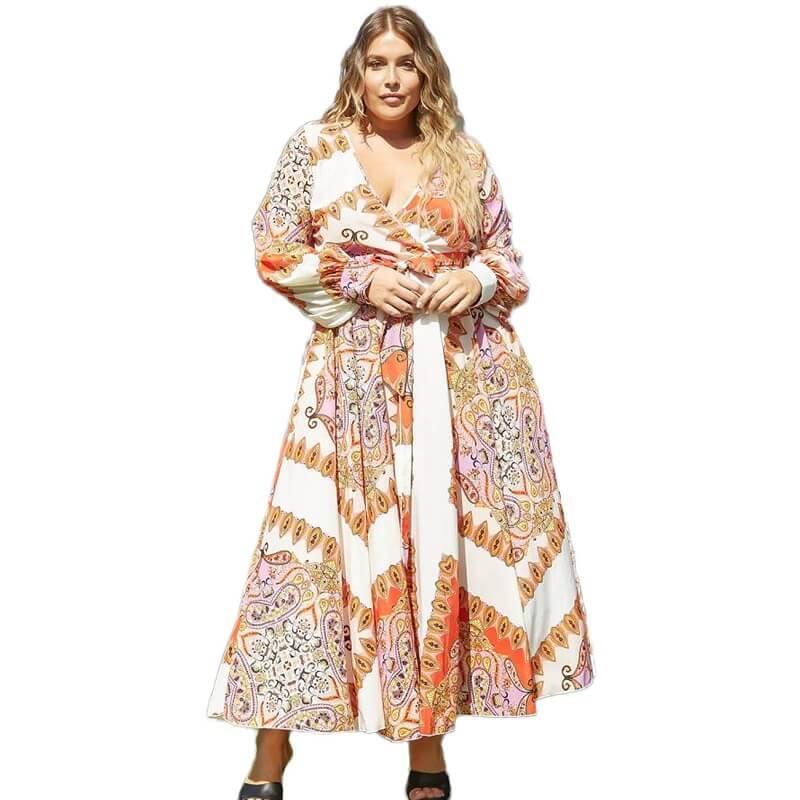 Women's Plus Size Dresses To Wear - orange positive
