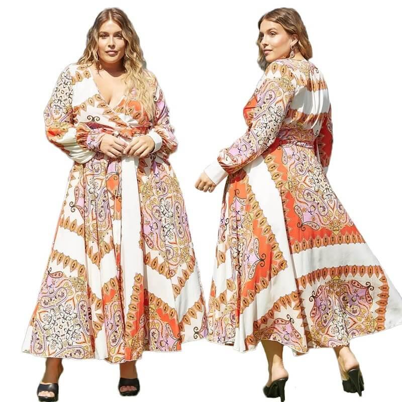 Women's Plus Size Dresses To Wear - orange main picture