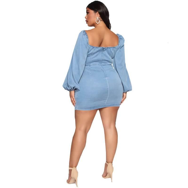 Oversized Blue Bow Dress - blue back
