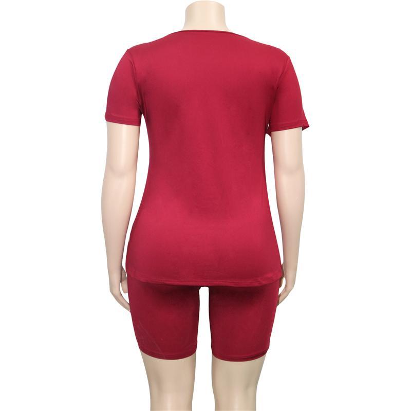Plus Size Two Piece Biker Short Set - wine red back