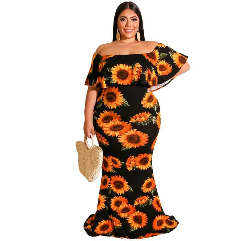 plus size bohemian dress- black positive