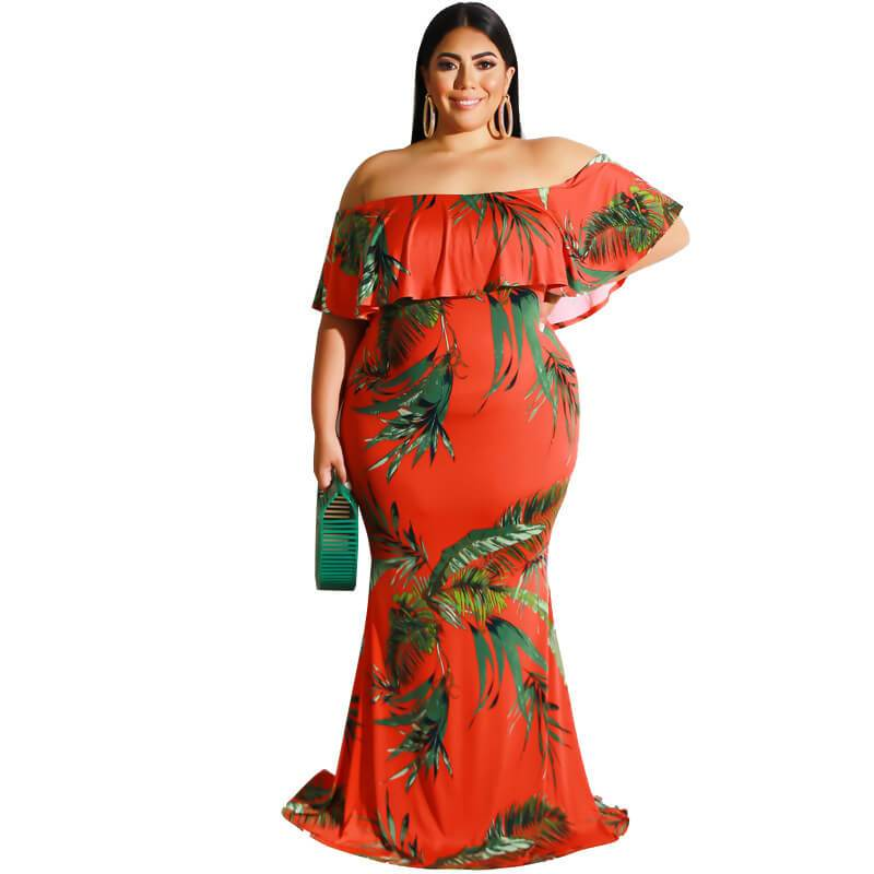 plus size bohemian dress - red leaf positive