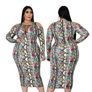 Plus Size Bodycon Dress - snake paeetrn main picture