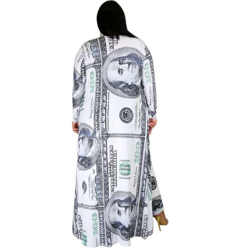 Plus Size Dollar Jumpsuit Ladies Suit - white behind