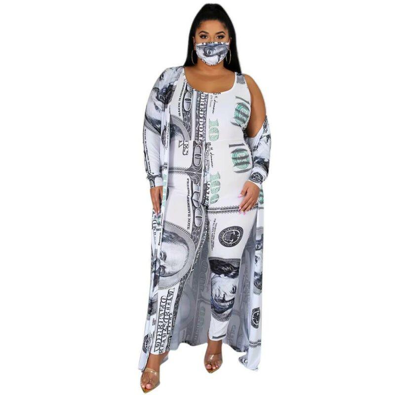 Plus Size Dollar Jumpsuit Ladies Suit - white positive