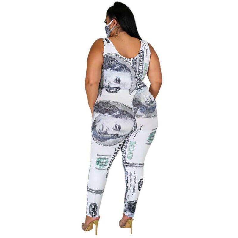 Plus Size Dollar Jumpsuit Ladies Suit - white back
