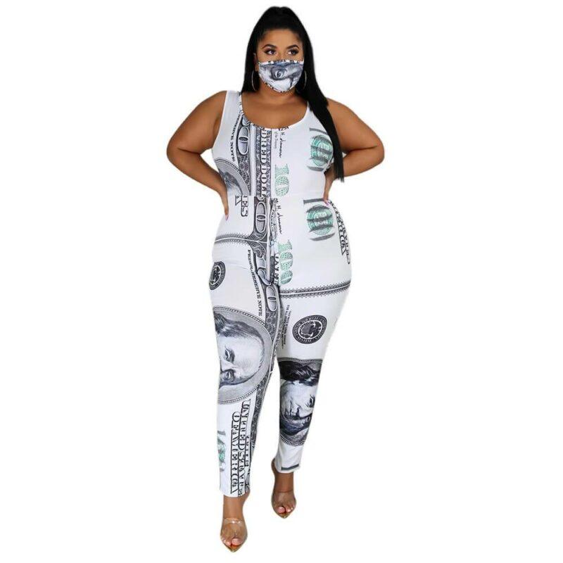 Plus Size Dollar Jumpsuit Ladies Suit - white detail image