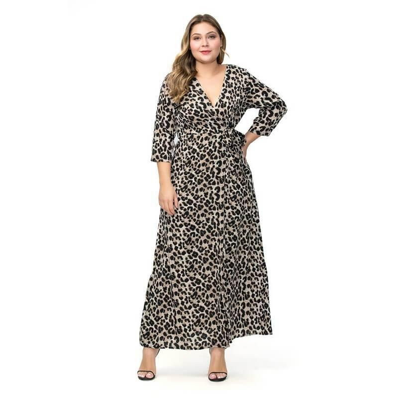 Large Size Chiffon Split Dress - gray whole body