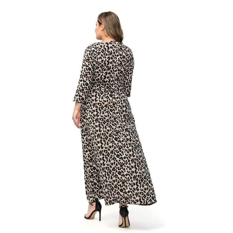 Large Size Chiffon Split Dress - gray back
