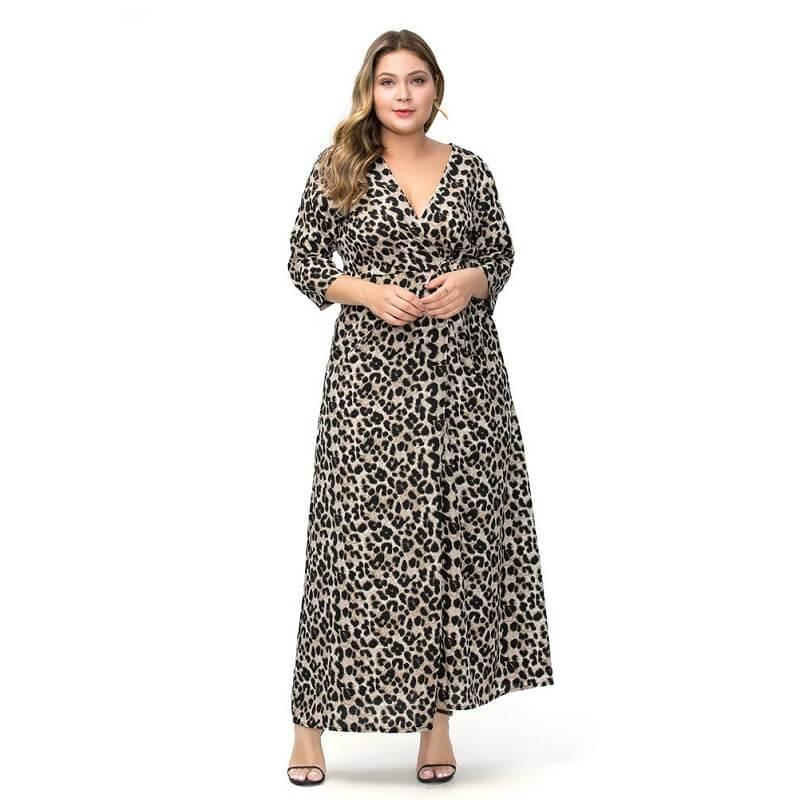 Large Size Chiffon Split Dress- gray color