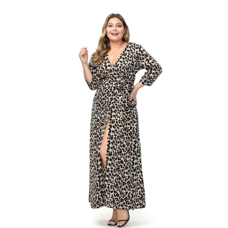 Large Size Chiffon Split Dress - gray detail  image