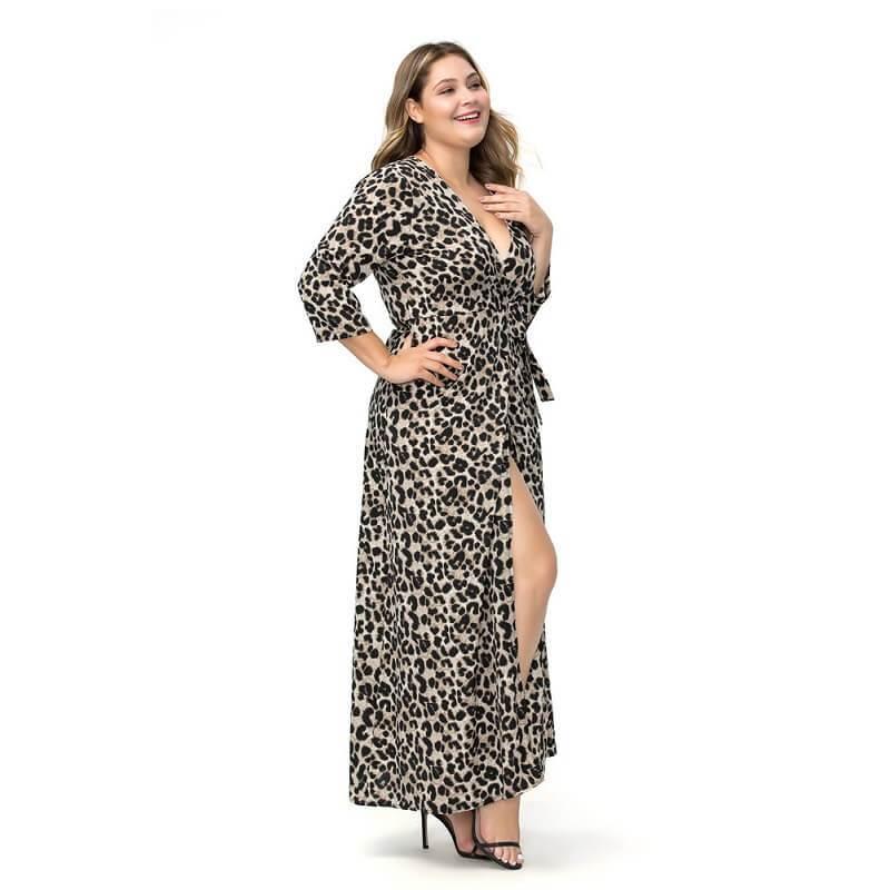 Large Size Chiffon Split Dress - gray side