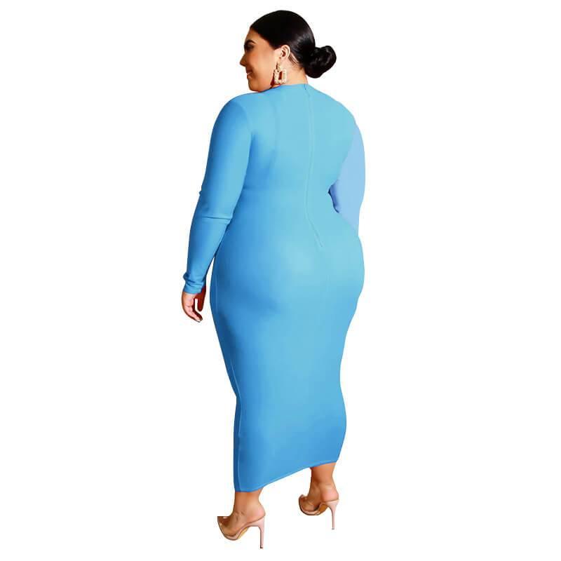 Plus Size Wedding Guest Dresses - sky blue back