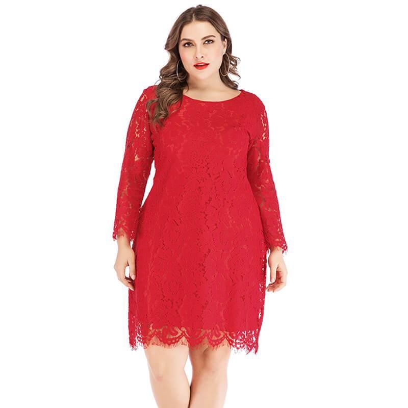 Plus Size Lace Wedding Dresses - red positive