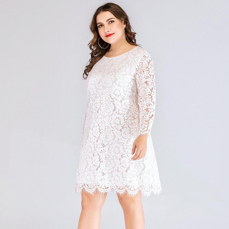 Plus Size Lace Wedding Dresses - white side