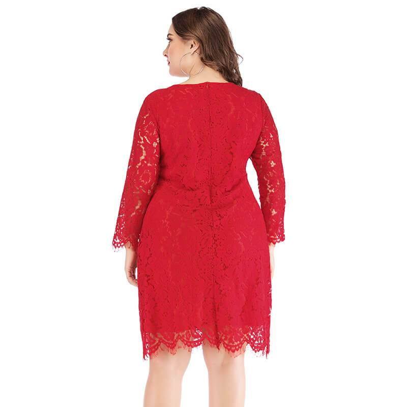 Plus Size Lace Wedding Dresses - red back