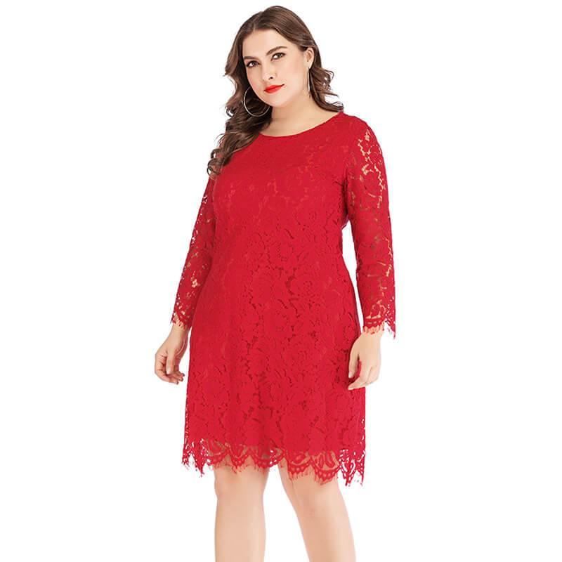 Plus Size Lace Wedding Dresses - red color