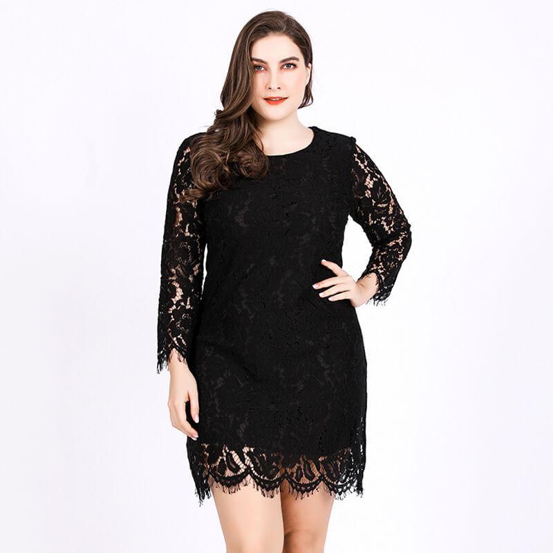 Plus Size Lace Wedding Dresses - black positive