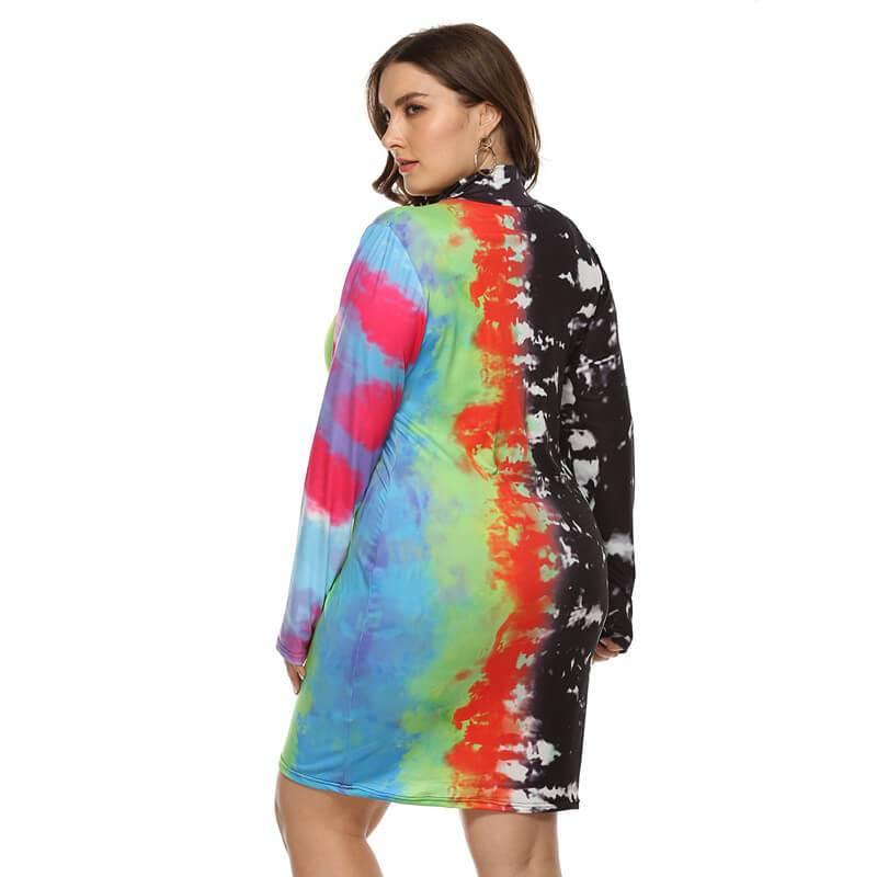 Large Size Color Inkjet Dress - multi side