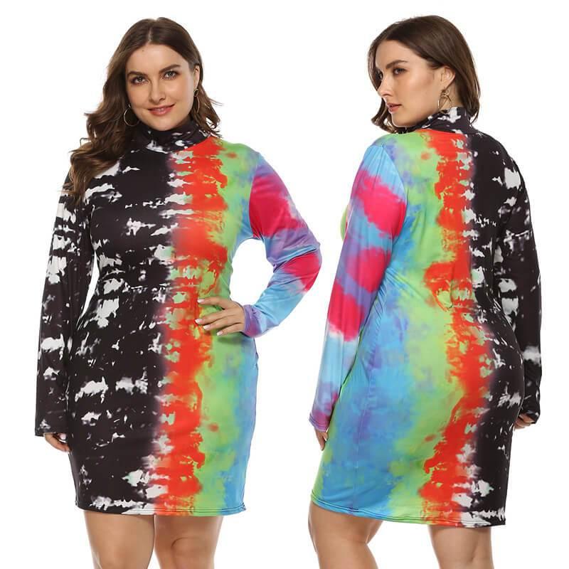 Large Size Color Inkjet Dress - multi main picture