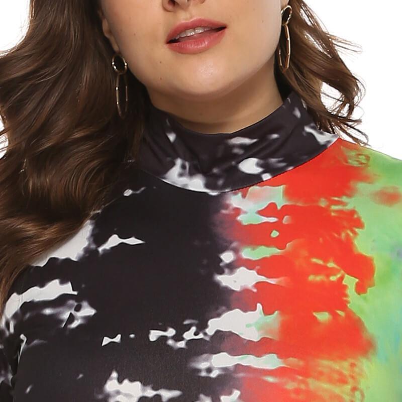 Large Size Color Inkjet Dress - multi positive