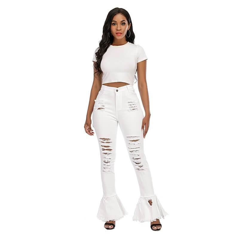 Plus Size Flare Jeans - white  color