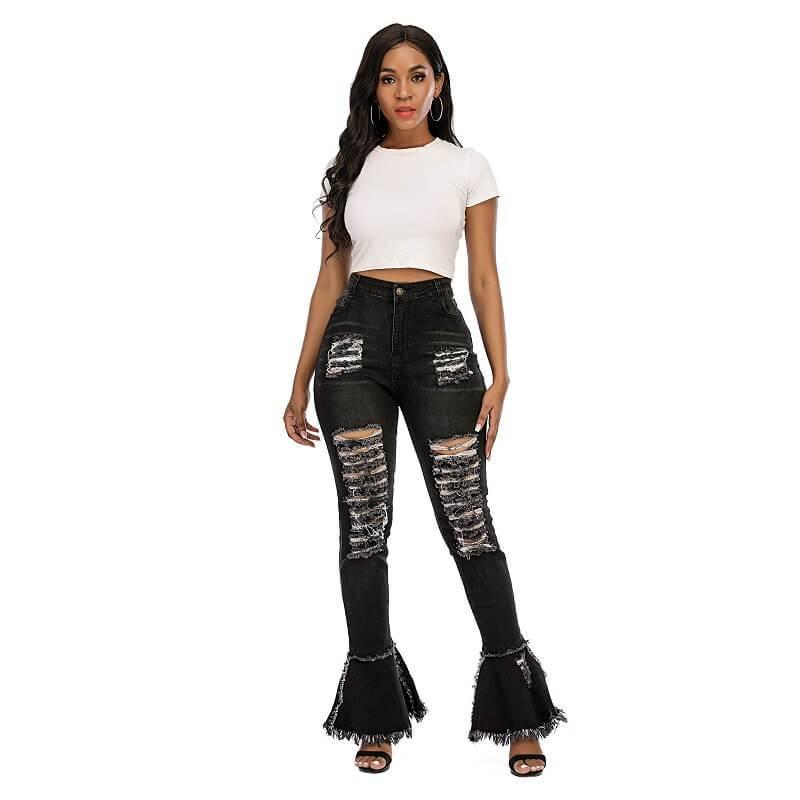 Plus Size Flare Jeans - black color