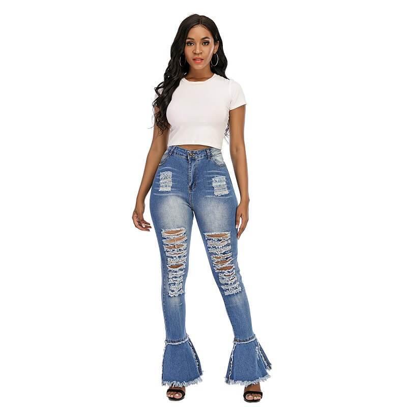 Plus Size Flare Jeans - blue color