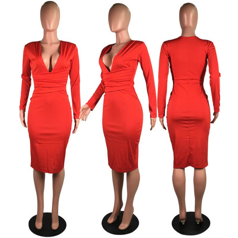 Green Long Sleeve Dress - red model picture