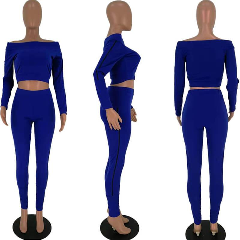 Two Piece Outfits - blue Color  model  view